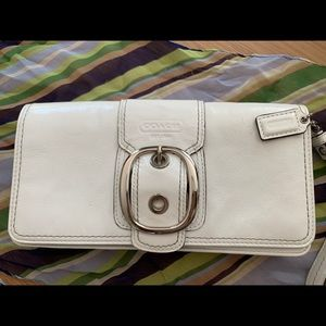 Authentic Larger white Coach Wristlet/Clutch.